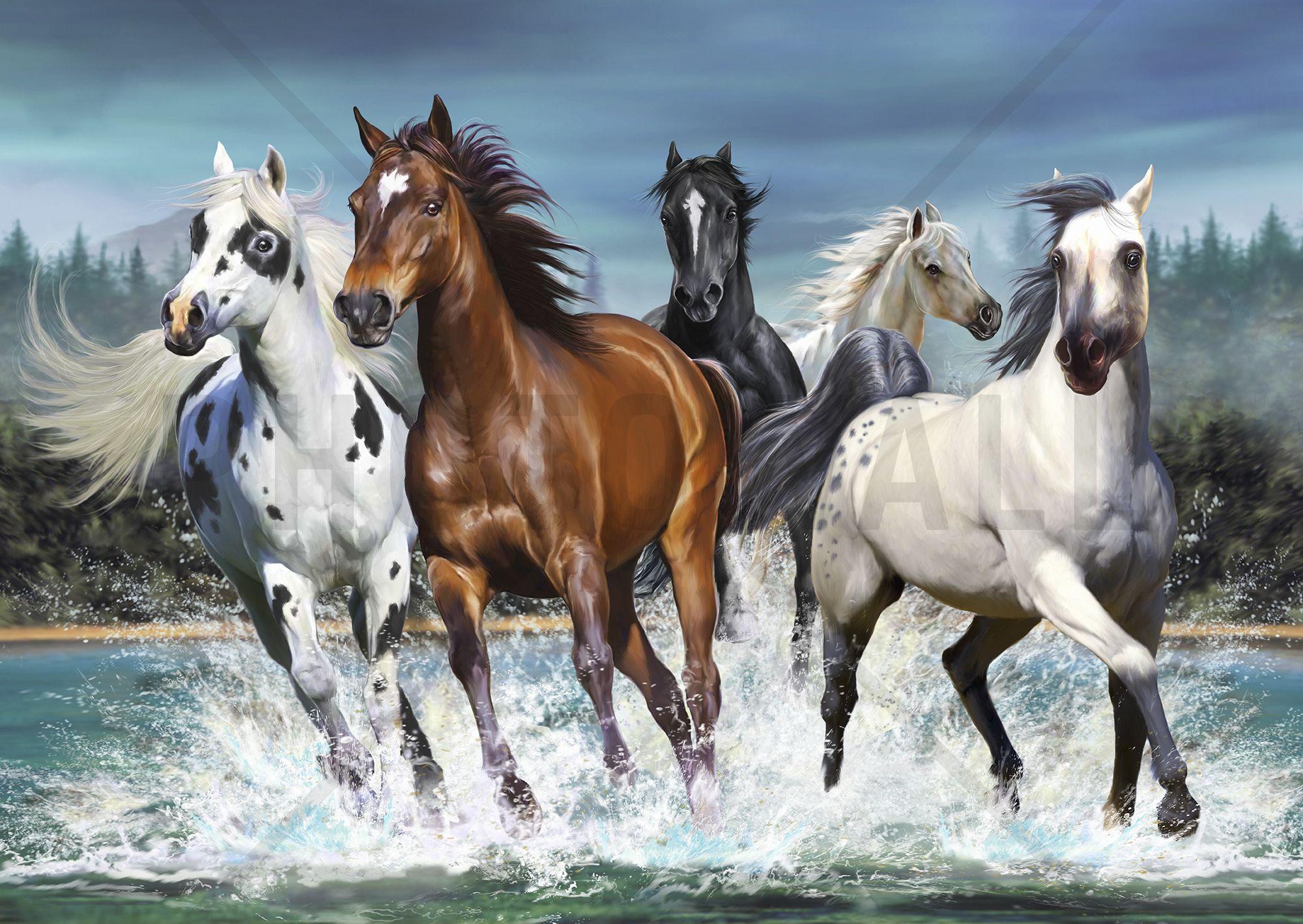 Running Horses Wall Mural Photo Wallpaper Photowall Horse Wallpaper Horse Painting Horses