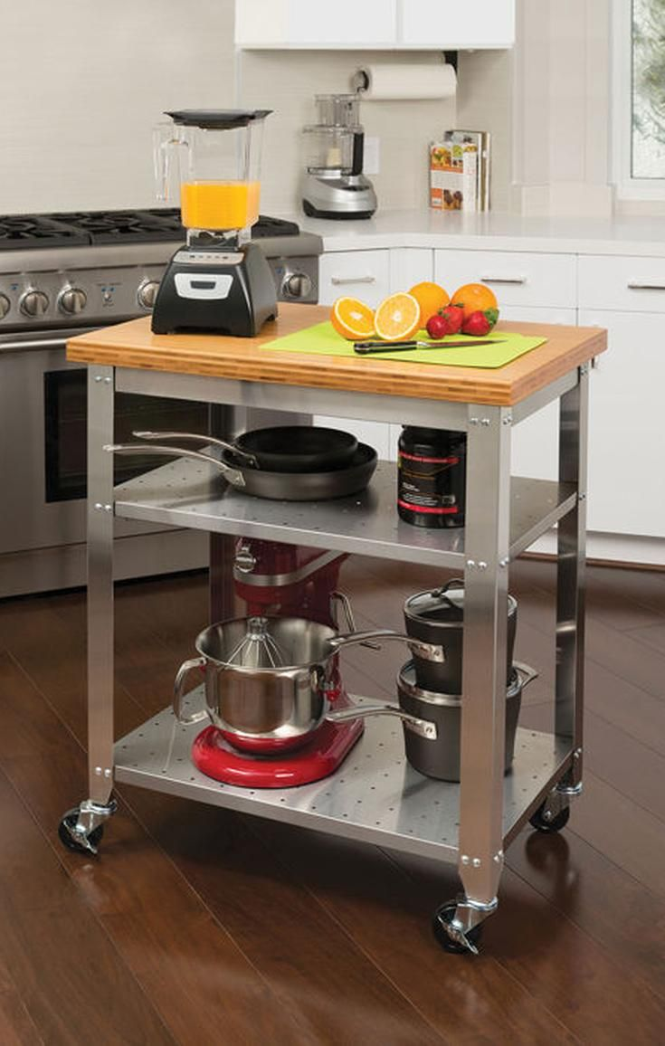 Seville Classics Stainless Steel Prep Table with Bamboo Top ...
