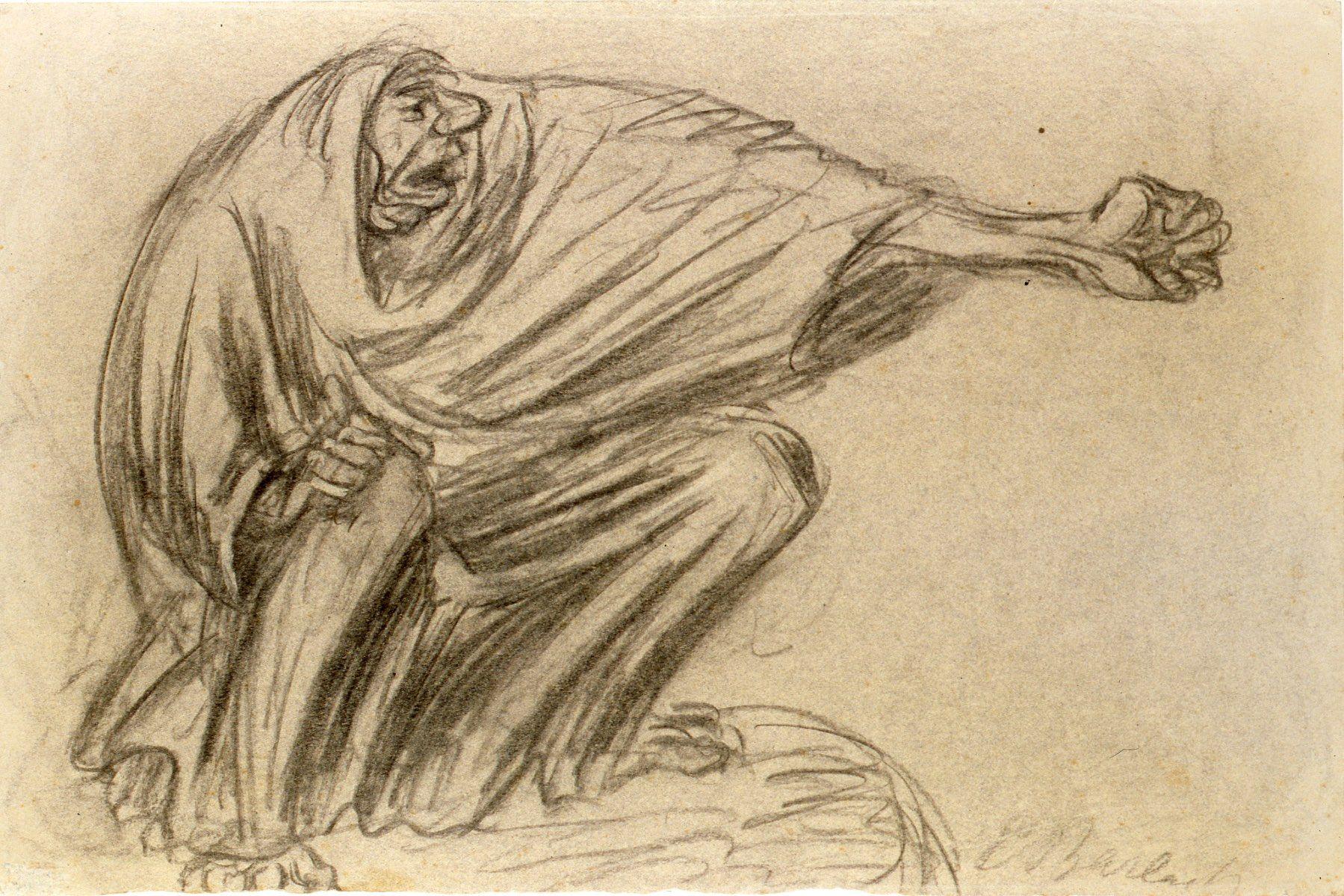 Mujer que maldice. Carboncillo. 1927. 32 x 47,8 cm. Artista Ernst Barlach.