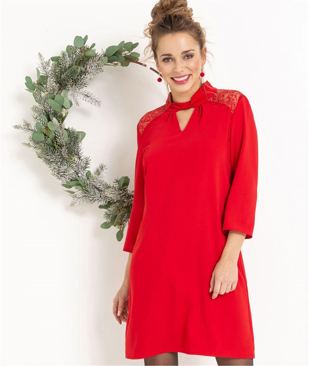 fe2f251933b Robe femme rouge habillée avec dentelle ROUGE - Grain de Malice  femme