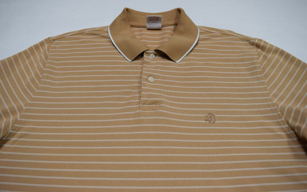 7bfaa44a Brooks Brothers 1818 Men's Performance Polo Golf Shirt Beige Striped Sz L # BrooksBrothers #PoloRugby