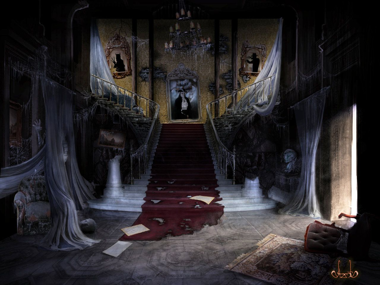 AMAZING Haunted House Art night castle with phantoms by azot ...
