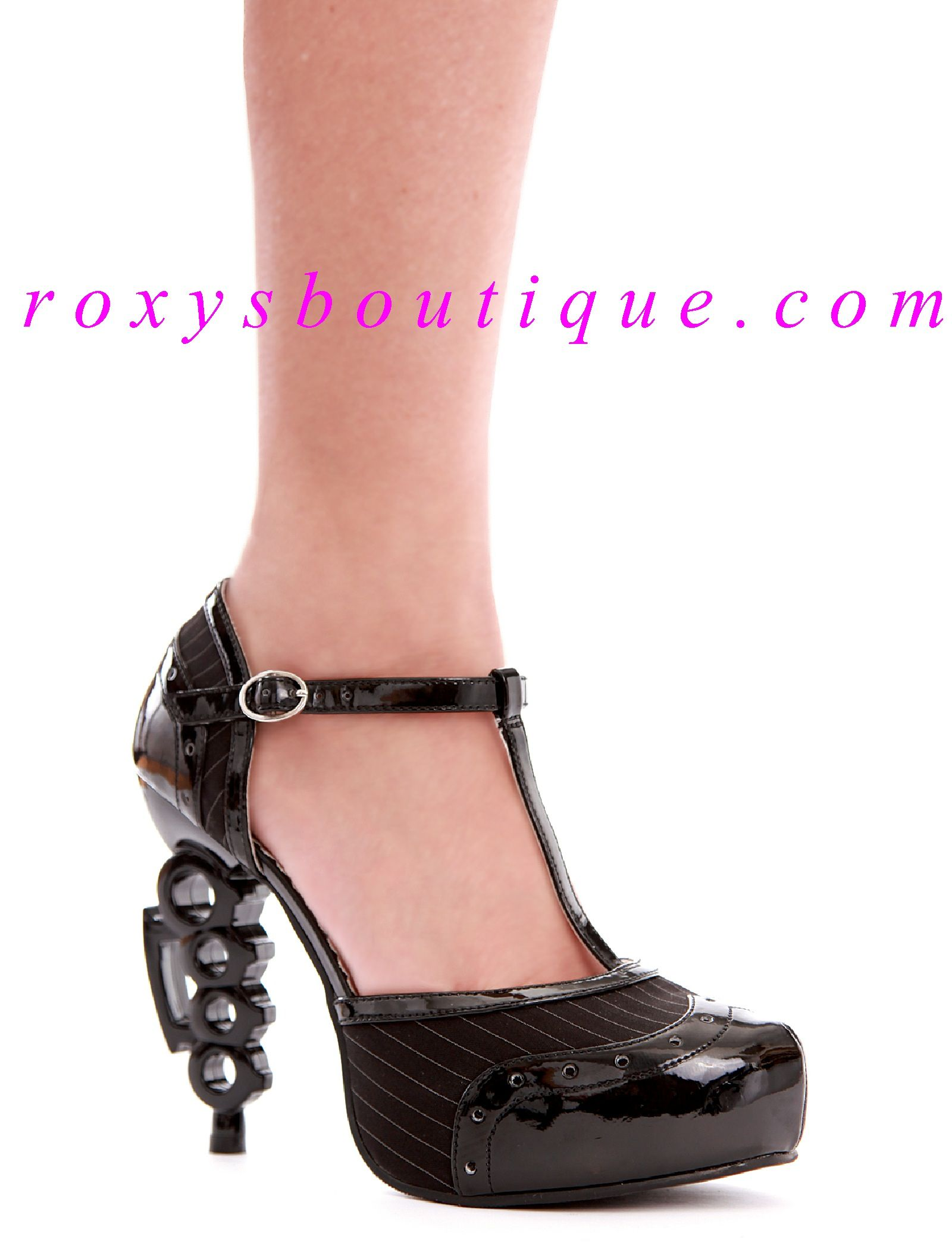 Black T-Strap Pumps 3/4
