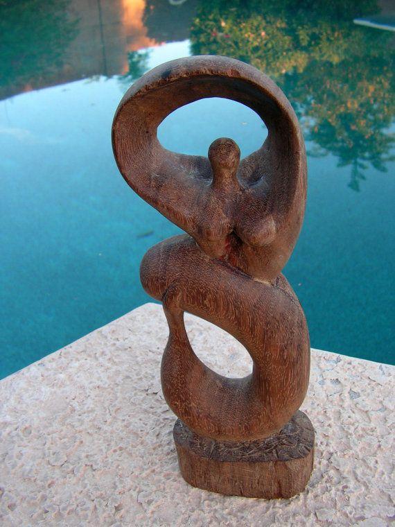 Bali Mermaid Wood Carving Nude Mermaid Woman Statue Primitive Hand