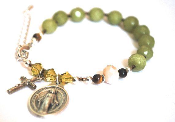 Rosary Bracelet Grassy Green Jade, Olive Swarovski Crystals + Tiger Eye. Rosary Bracelet. Confirmation Gift Travel Rosary Catholic Bracelet. on Etsy, $35.00