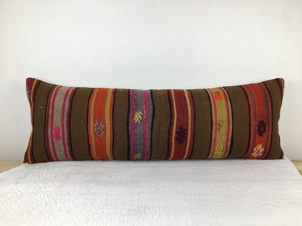 Turkish kilim pillow , floor pillow , bench pillow , entry decor pillow , 12 x 36 ' kilim pillow , couch pillow , bohemian pillow ,1795