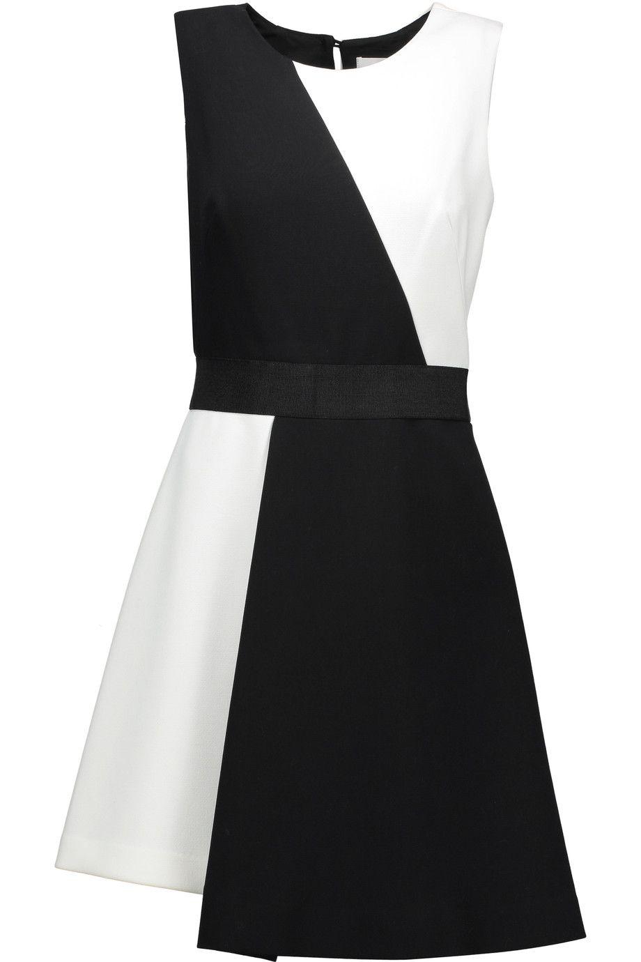 MILLY Asymmetric Two-Tone Stretch-Cady Mini Dress. #milly #cloth #dress