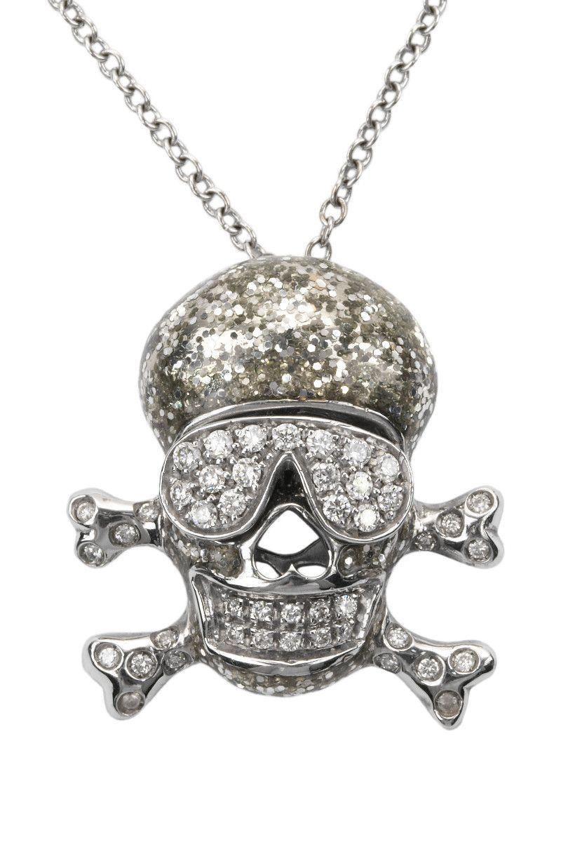 Diamond & Silver Glitter Skull Necklace