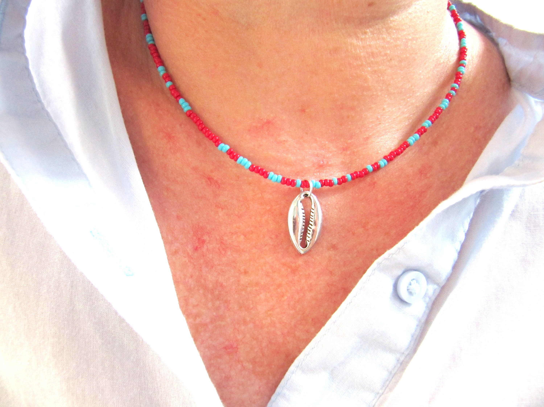 Beautiful And Dainty Cut Sea Shell Boho Choker Necklace