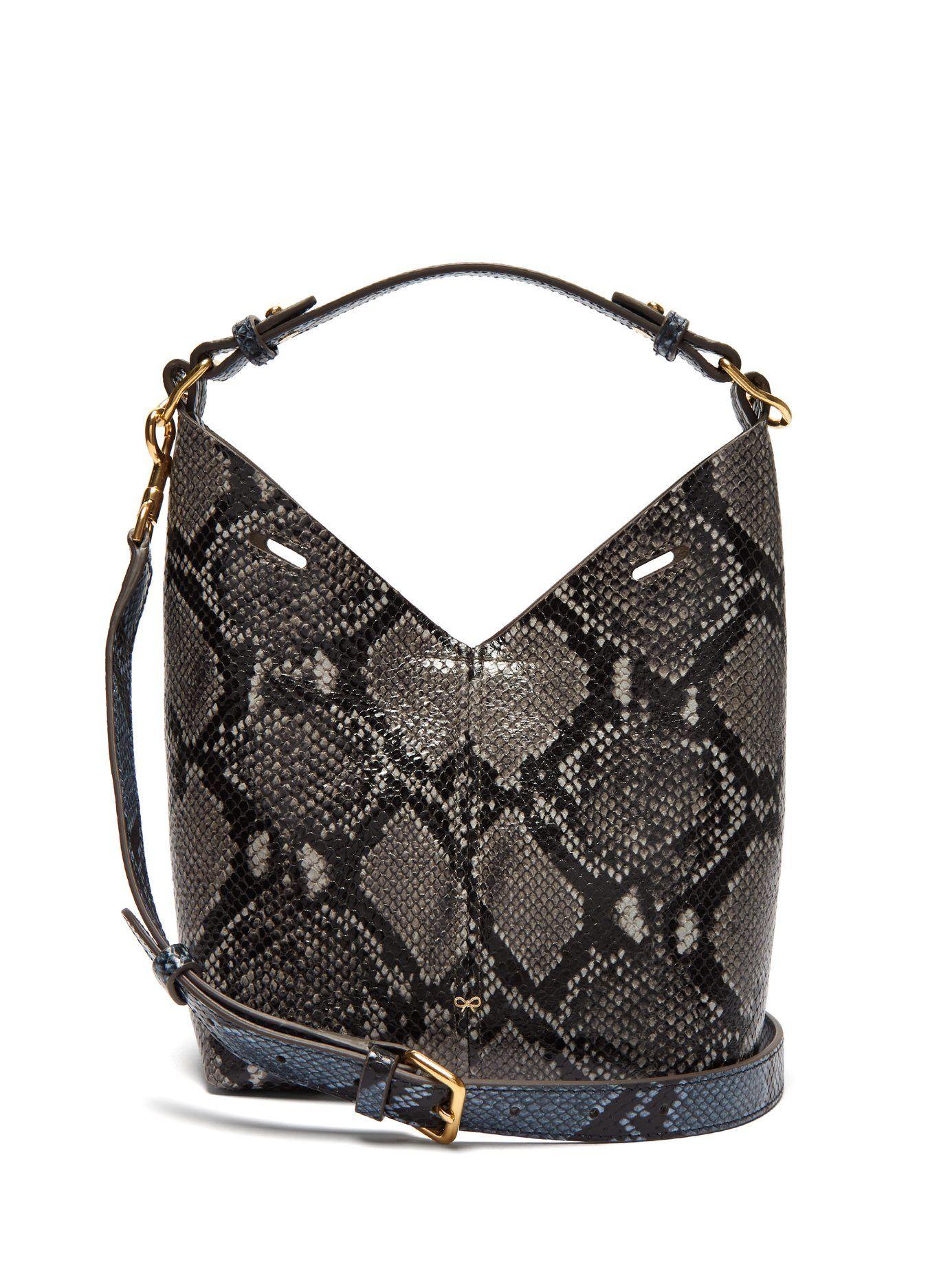 4e5acbe7cb3 GABRIELLE'S AMAZING FANTASY CLOSET | black python-effect mini leather tote  bag | Anya Hindmarch