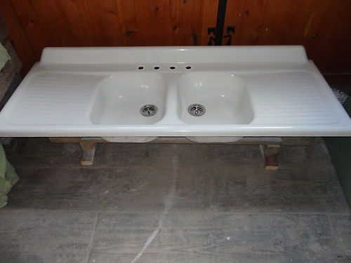 Vintage Double Basin Drainboard Cast Iron Farm Farmhouse Kitchen Sink Antique Ebay