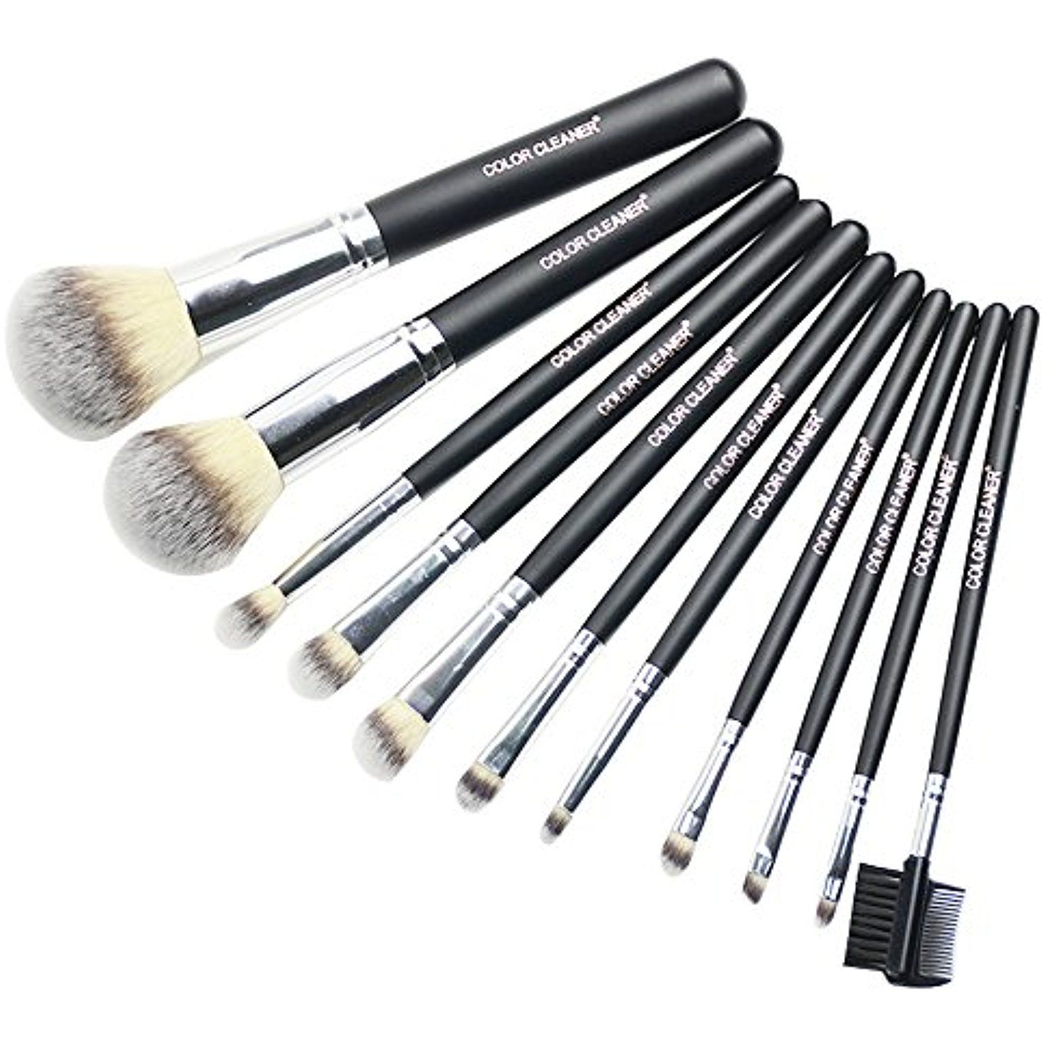 COLOR CLEANER Synthetic Hair Makeup Brush Set, 11 Pieces