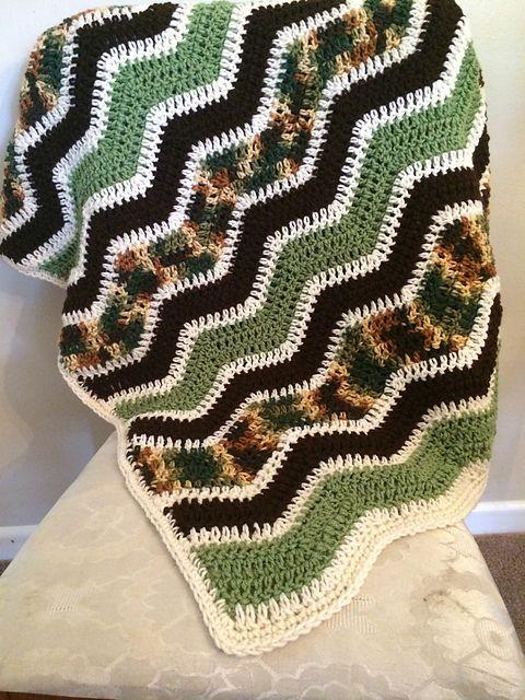 Crochet Patterns Galore - Camo Ripple Blanket
