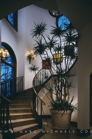 Mediterranean Staircase with Arched window, Chandelier, Wrought iron railing, Cathedral ceiling, Wall sconce
