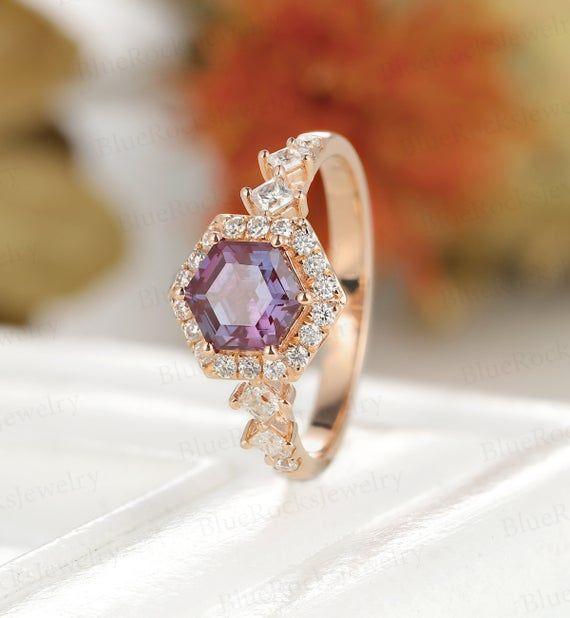 Vintage Hexagon shaped Alexandrite Engagement ring,half infinity Rose Gold wedding ring,Princess cut