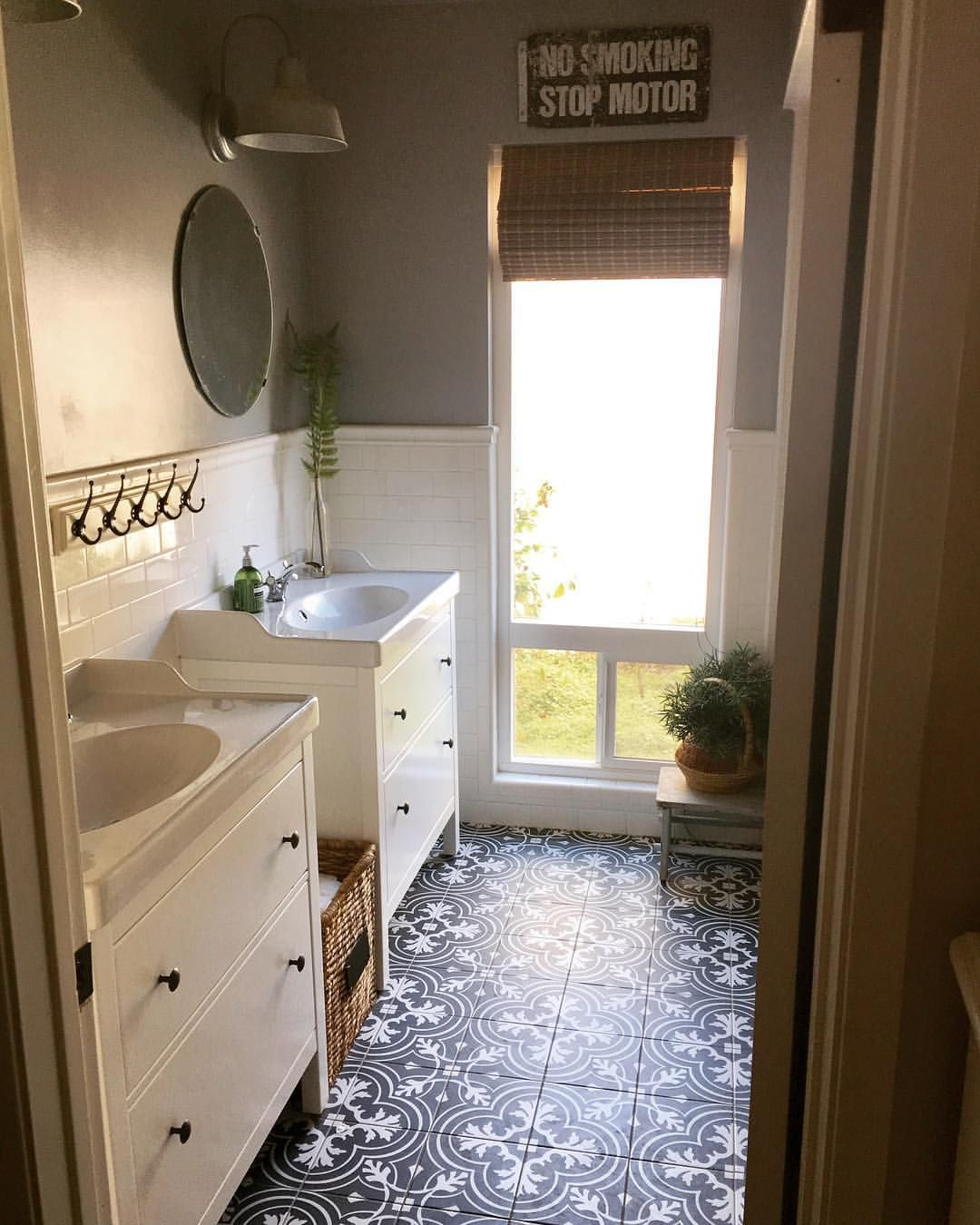 Modern farmhouse style bathroom gray and white patterned