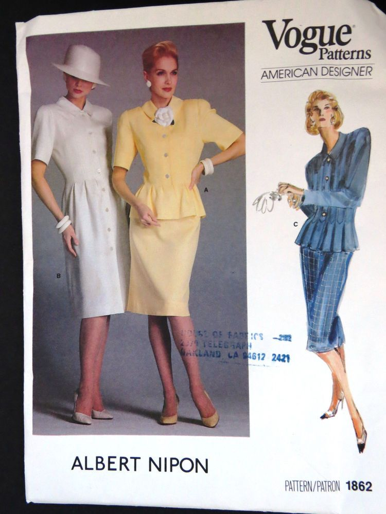 Vogue Pattern 1862 Albert Nipon Womens Dress Suit Pattern Size 12