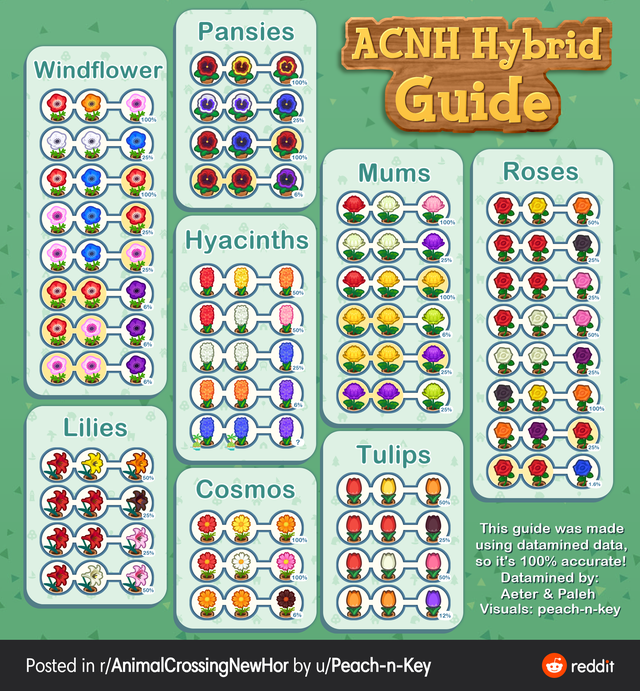 Cross Breeding Guide Based On Data Mining All Credit To U Peach N Key Acnhgardening In 2020 Animal Crossing Animal Crossing Qr New Animal Crossing