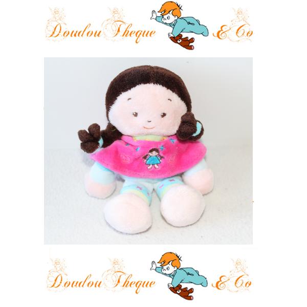 Doudou poupée CATIMINI poncho rose petite fille 16 cm