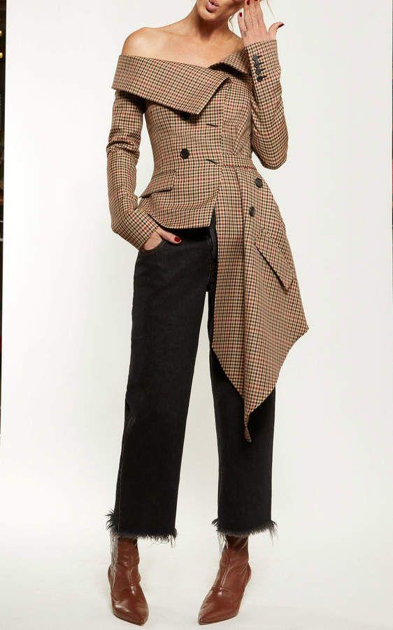 3d41e3aae802b Monse Off Shoulder Jacket | Fashions | Off shoulder jacket, Evening ...