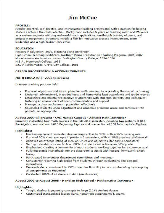 Sample Teaching Resume For Jim Mccue Resume Sample Resume