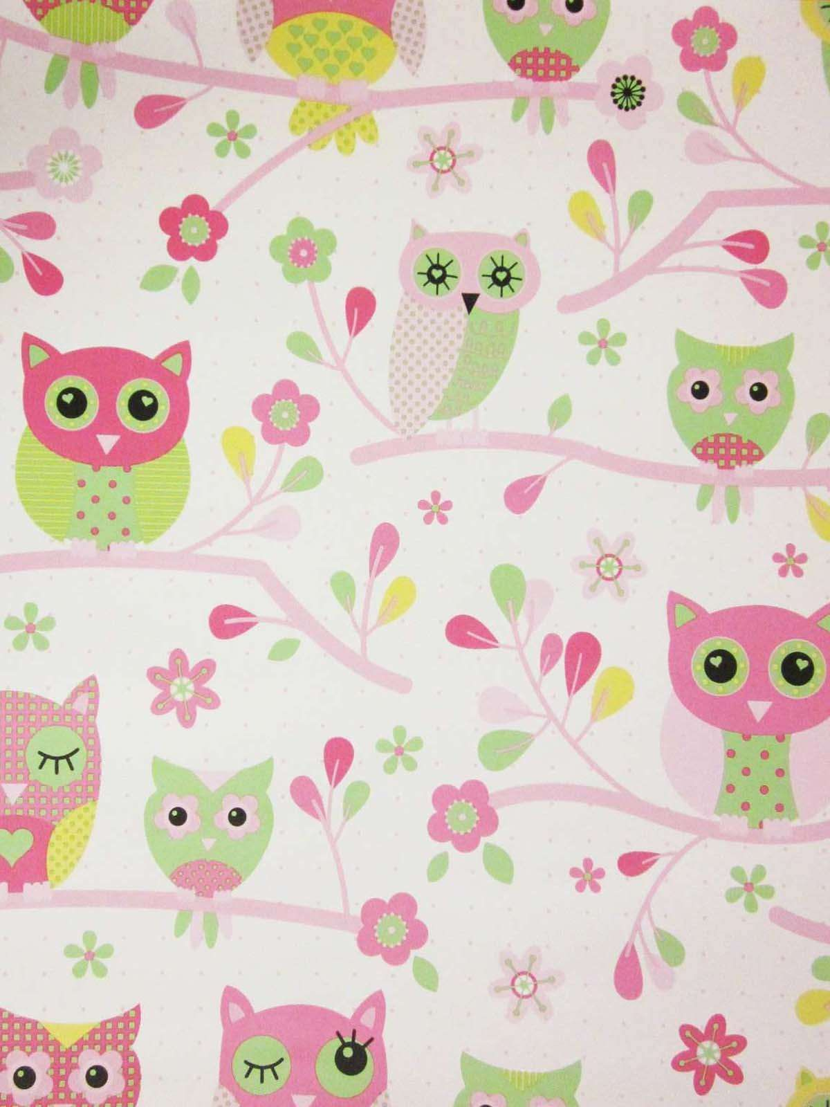 Country Owls Pink Wallpaper | Izzy's new bedroom ideas ...