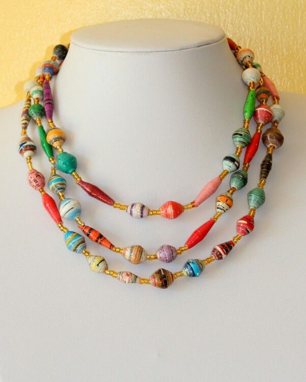 African Design Necklace Hand Rolled Paper Beads Paper Mache Multi Color Paper Beads Necklace Paper Jewelry Paper Beads