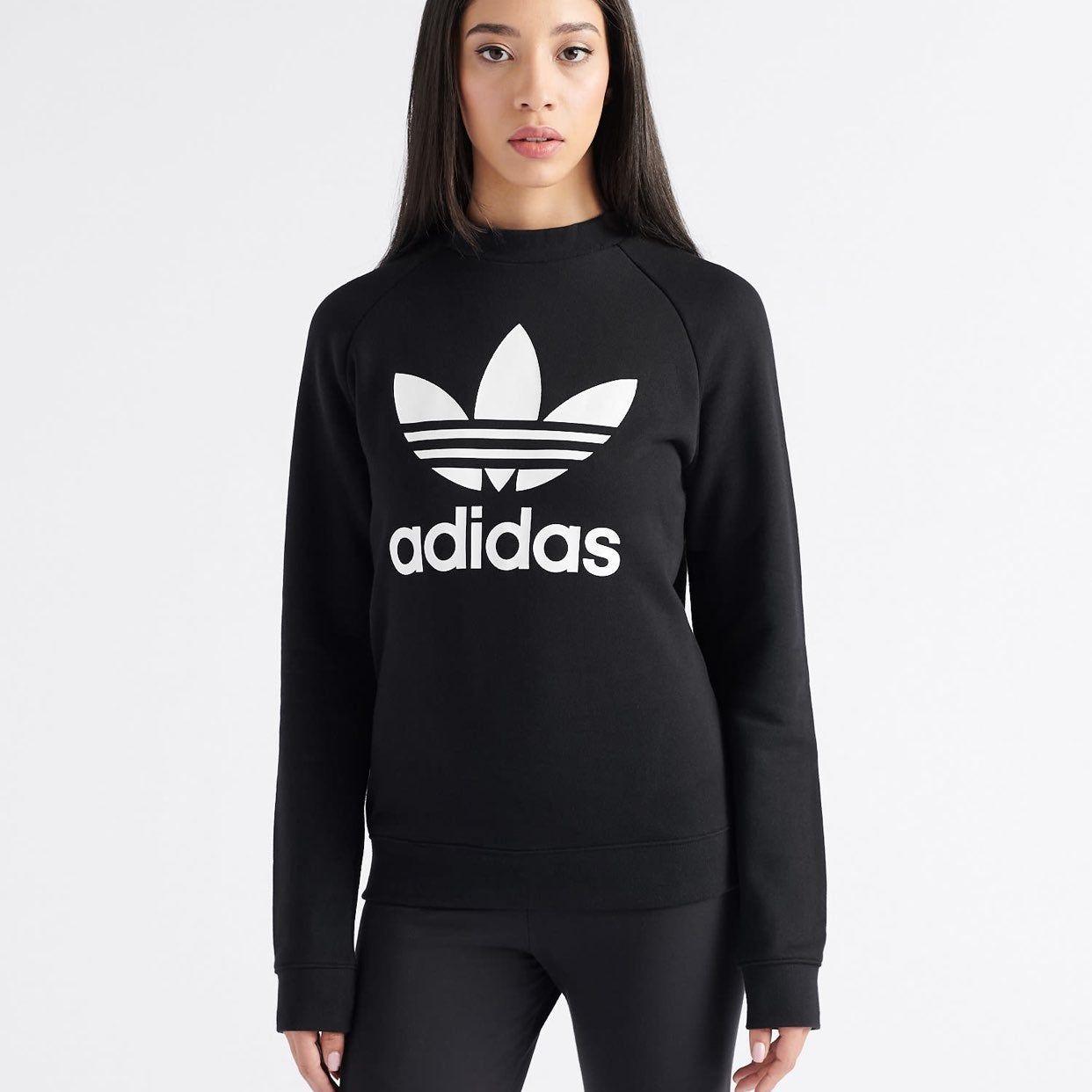Nwt Adidas Womens Size S Black Crewneck Sweatshirt With White Trefoil Logo Raglan Sleeves Hip Leng Sweatshirts Crew Neck Sweatshirt Black Crewneck Sweatshirt [ 1242 x 1242 Pixel ]