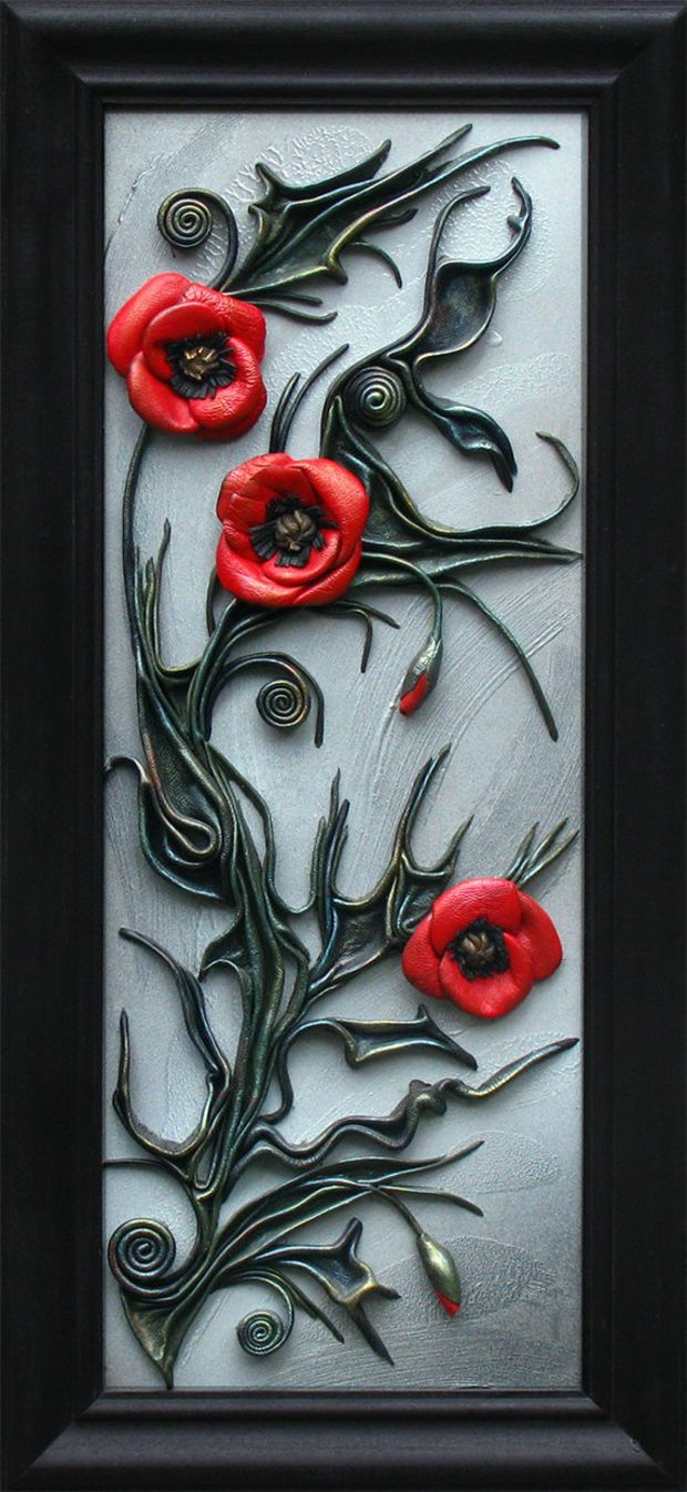 Poppy Wall Decor Picture Leather Art Wooden Frame Hand Painted Acrylic Paste Relief Background Papaver Poppies Flower