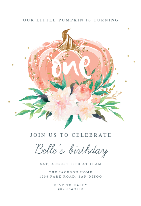 a little pumpkin birthday invitation
