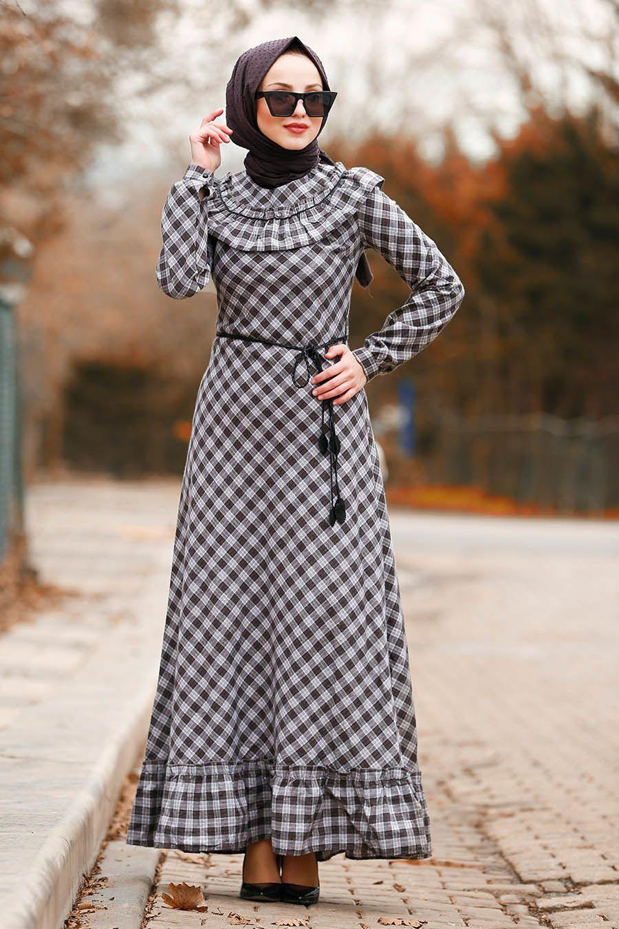En Guzel Nayla Collection Tesettur Ekose Elbise Modelleri Moda Tesettur Giyim Elbise Elbise Modelleri Giyim