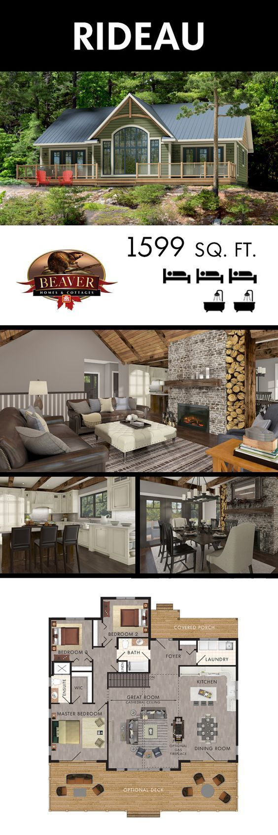 floor plan 3 bdrms, can extend LR area into deck to make it larger, add bookshelves on bsmnt stairway wall, cut deck size if no space, Rideau model from Beaver is part of Lake house plans -