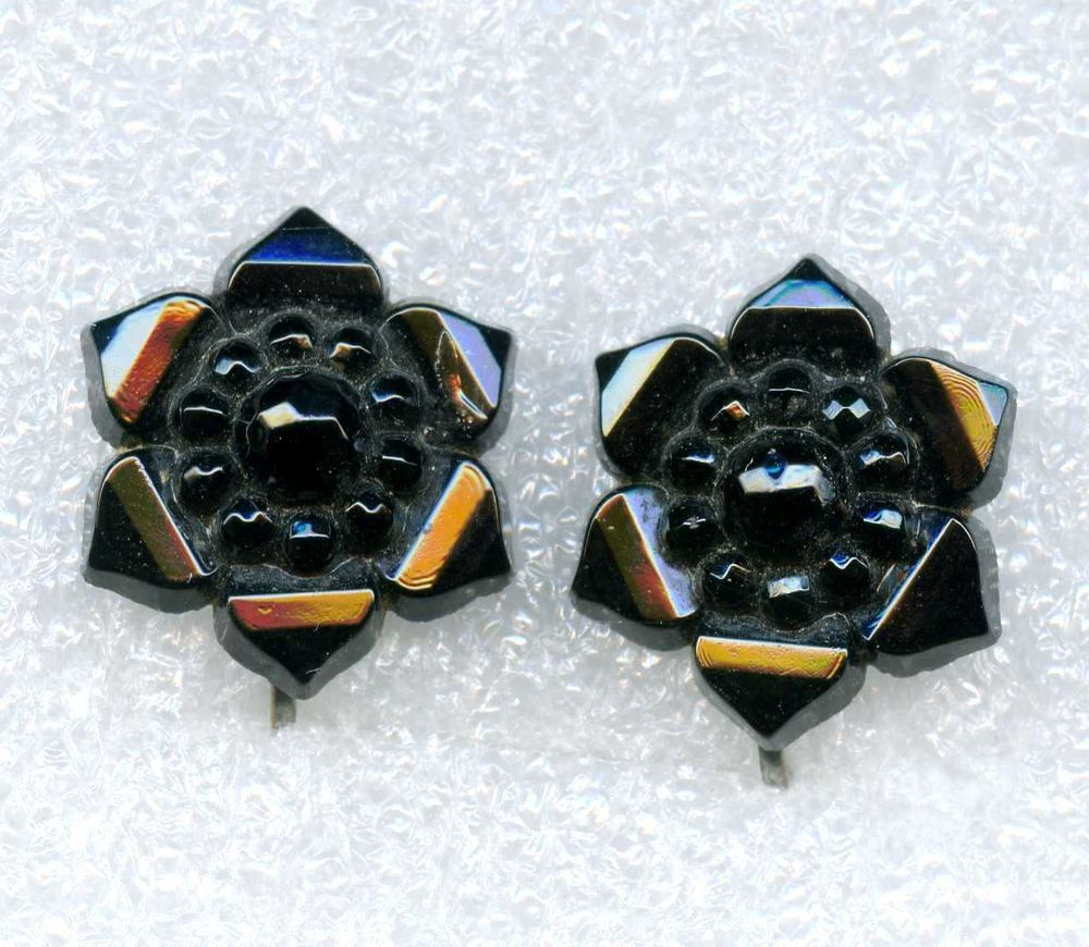 Victorian Mourning Black Glass French Jet Flower Screwback Earrings #NotSigned