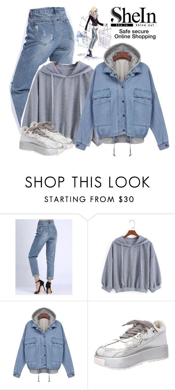 """SheIn hooded drawstring loose grey sweatshirt"" by lorrainekeenan ❤ liked on Polyvore"