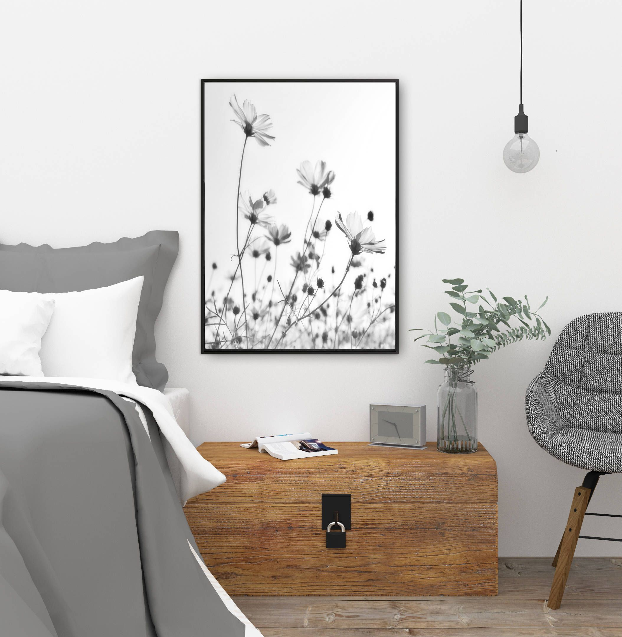 Flowers Wall Art, Flowers Print, Black And White Photography, Minimal