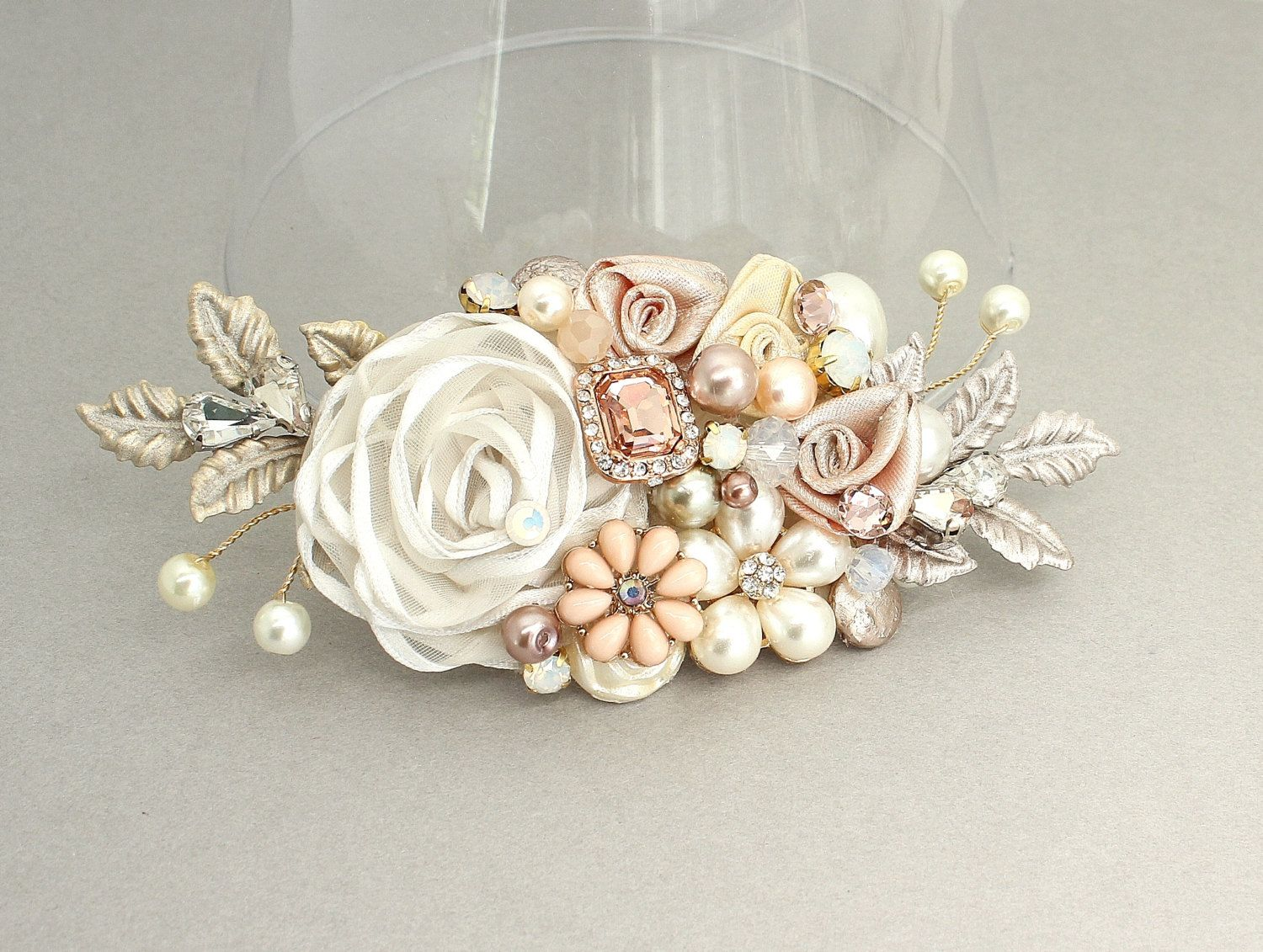 rose gold hairpiece-rose gold bridal comb-bridal hair accessories