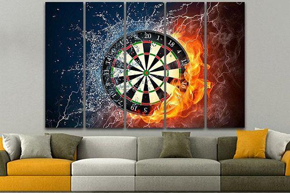 Darts wall art darts print darts canvas game home decor game poster art darts game game wall decor target print dart board game office decor