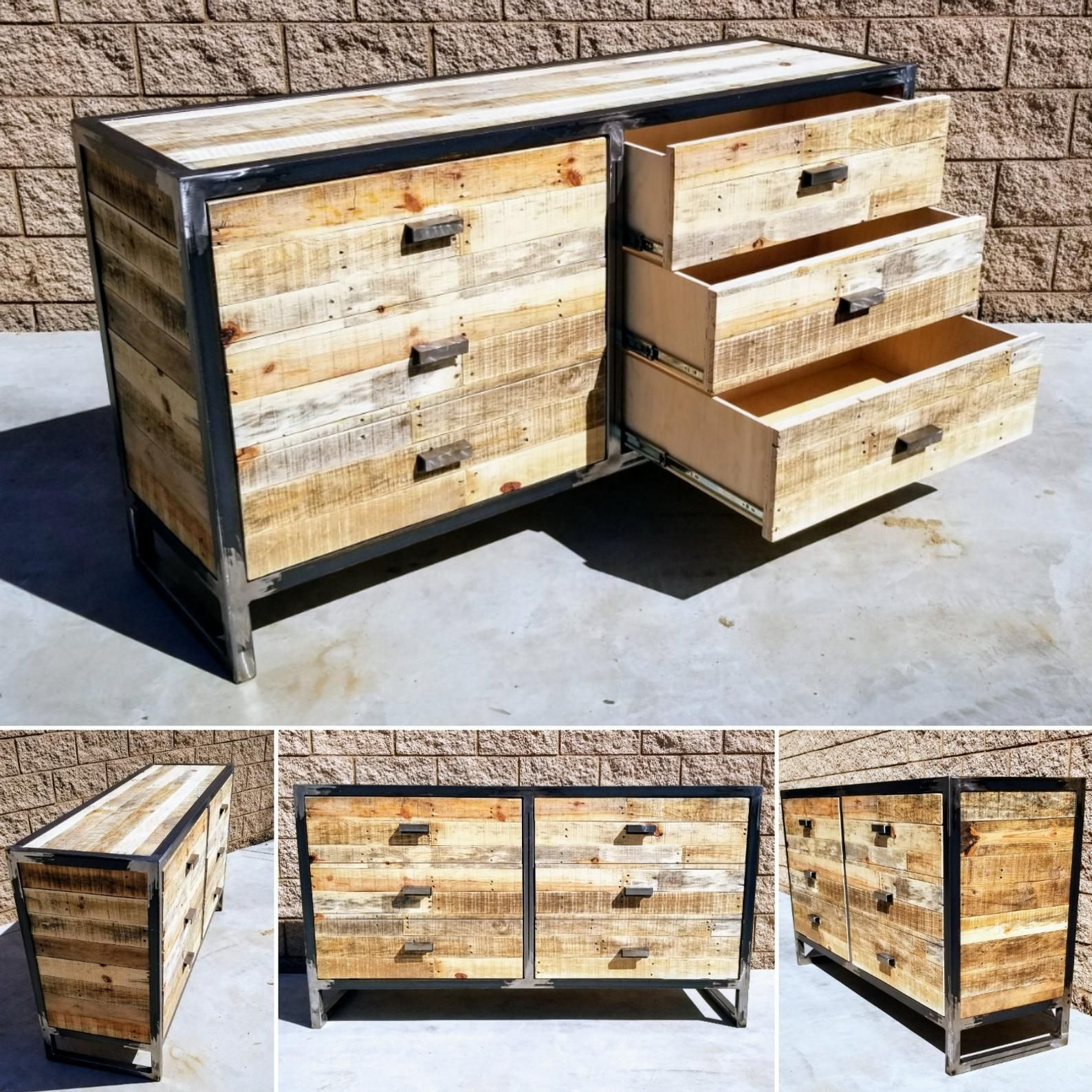 Commode Chambre Style Industriel industriel reclaimed wood 6 drawer dresser | commode tiroirs
