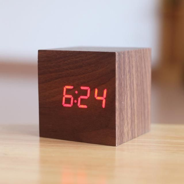 Digital Wooden Alarm Clock Wood Clocks Digital Table Clock Led Alarm Clock