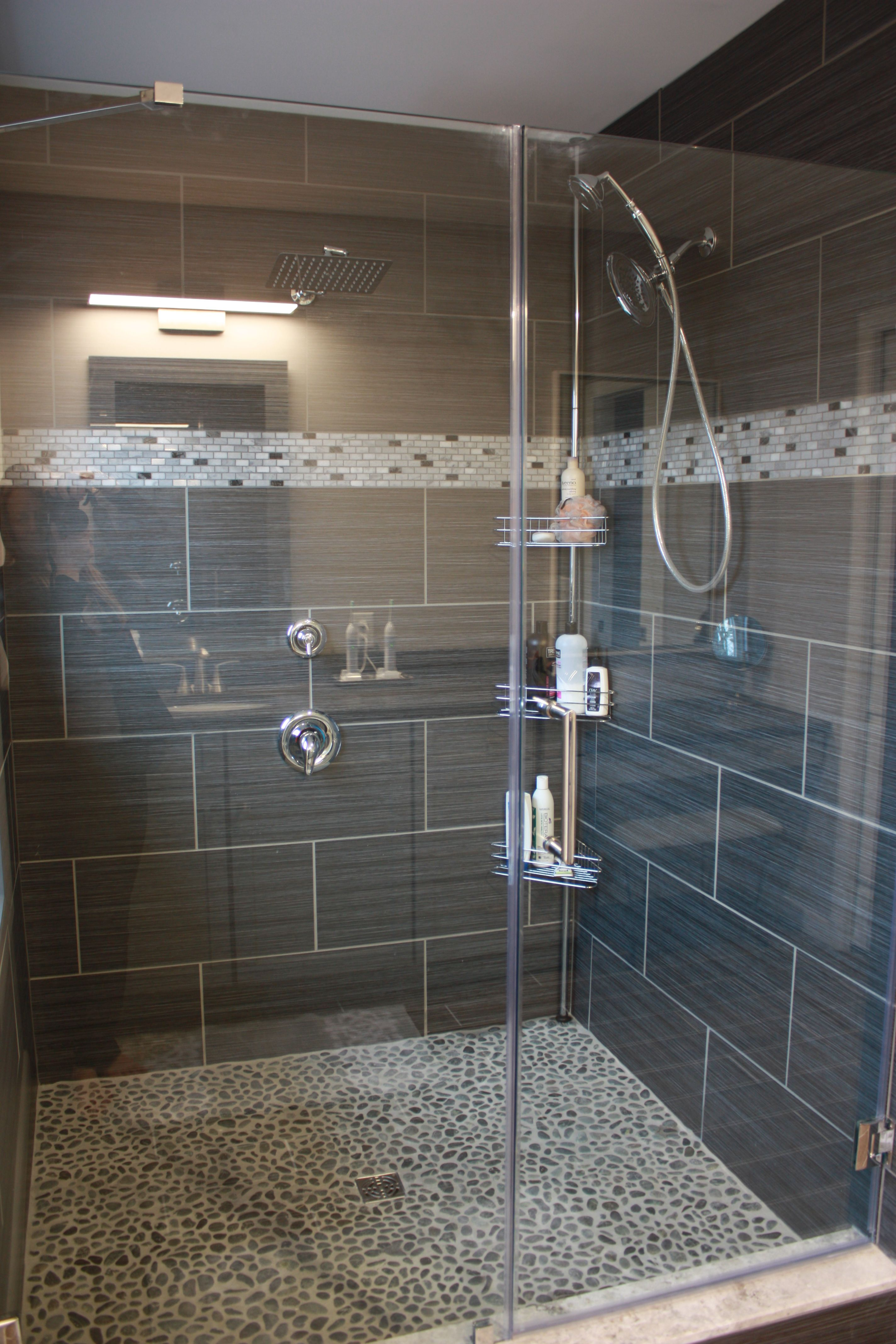 Bathroom Floor To Roof Charcoal Tiles With A Black: Pebble Tile Shower, Pebble