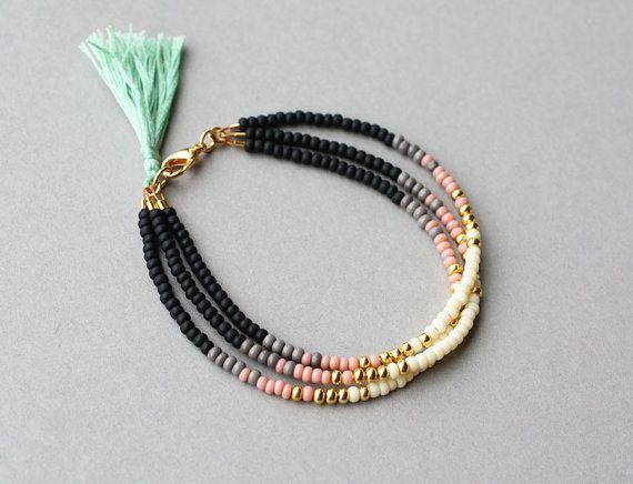 Beaded Friendship Bracelet Roze Multi Strand Zaad Kraal Vriendschap Armband Met Mint Kwast Als Cadeau Voor Haar