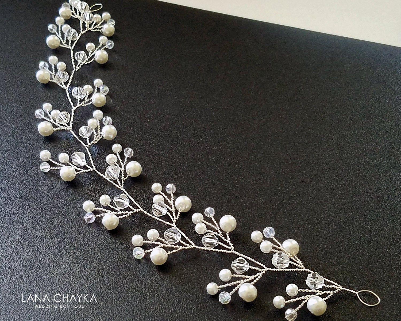 Pearl Crystal Bridal Hair Vine Wedding Hair Piece White Pearl Wreath Bridal Pearl Bridal Hair Jewelry Crystal Bridal Hair Vine Bridal Accessories Headpieces