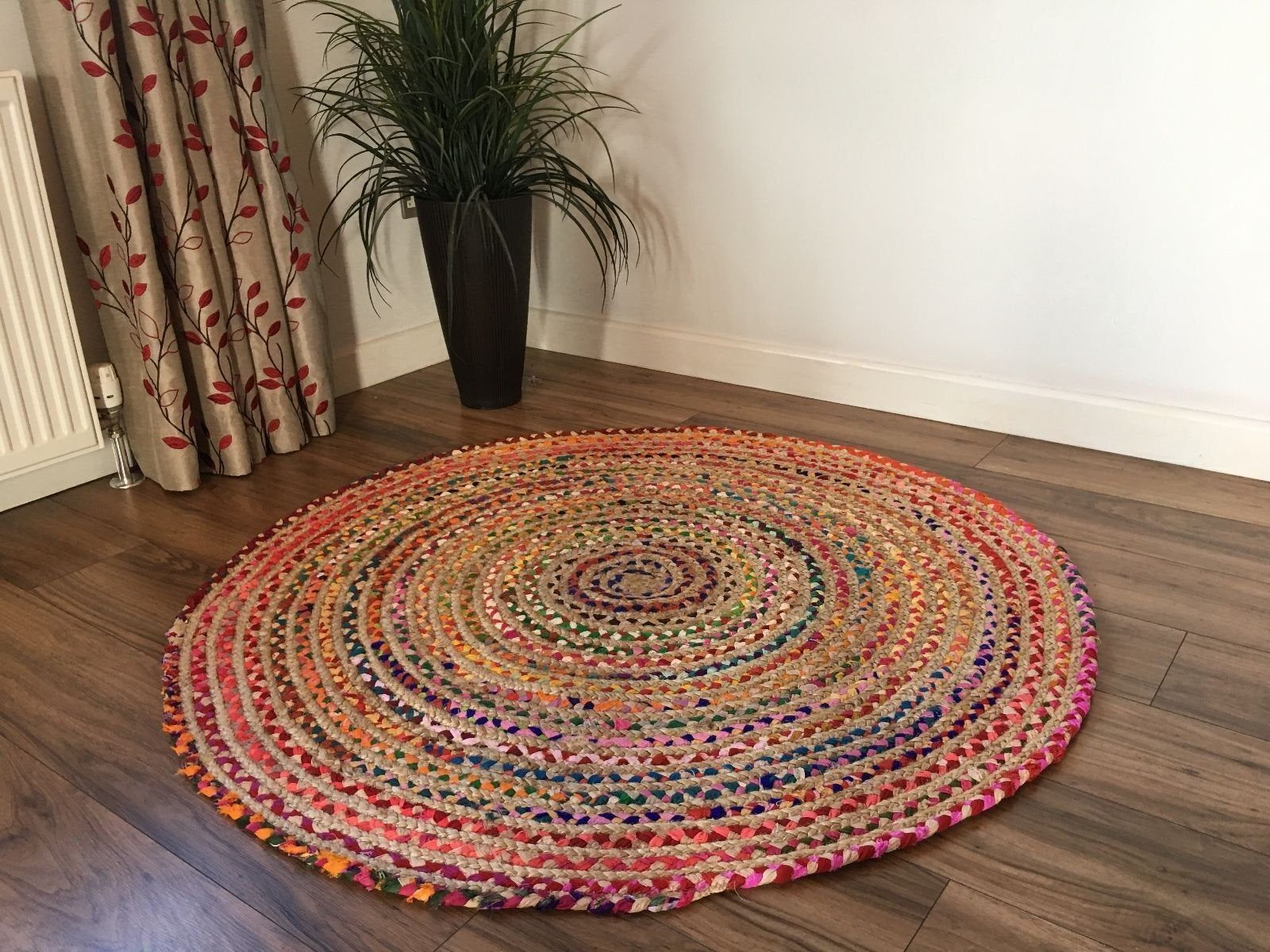 Hand Braided Bohemian Round Shape 3 Feet Diameter Circle Colorful