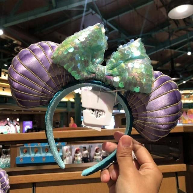 Photo of Disney Headband Minnie Ears For Women Mermaid Ariel Headdress Cartoon Anime Disneyland Mickey Mouse Bow Sequins Hair Hoop – F