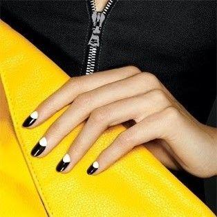 Black and white Half Moon Manicure