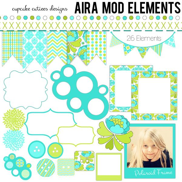 Aira Mod Clip art Elements - beautiful elements to pair with Aira Mod papers to create unique invitations, cards, paper goods and more.