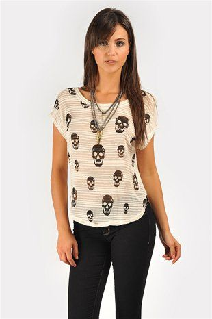 Sheer Skull Tee - Ivory at Necessary Clothing