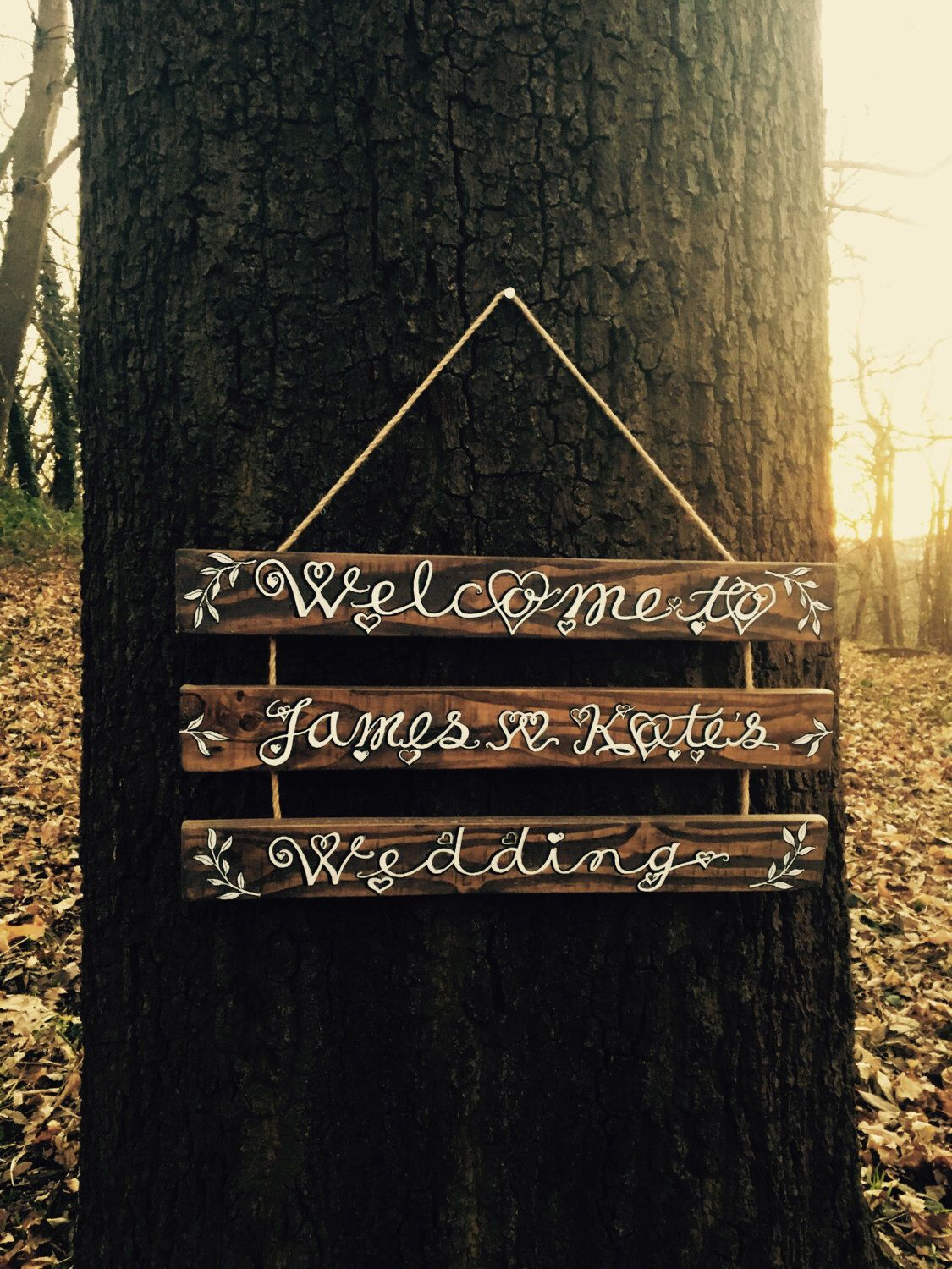 Wooden Wedding Welcome Sign Personalised For Rustic Vintage Boho Outdoor Barn Festival Weddings