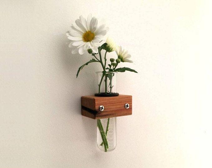 Wall Vase Test Tube Vase With Wood Holder Bud Vase Home