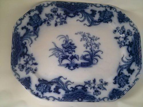 "Lg. Samuel Alcock ""Carlton"" Pattern - Flow Blue Platter C.1840 - Blue and White"